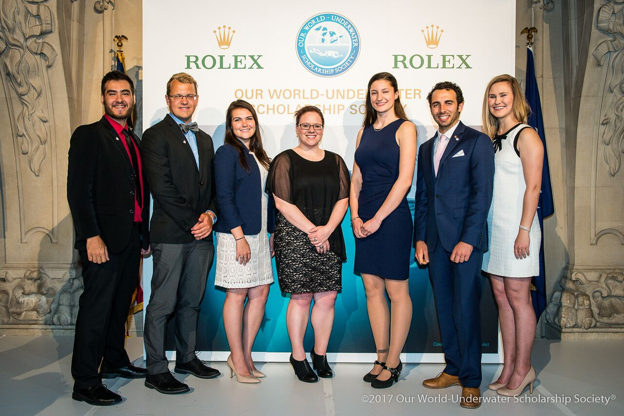 2016 & 2017 Our World-Underwater Scholarship Society Interns with Sponsors at the New York Yacht Club